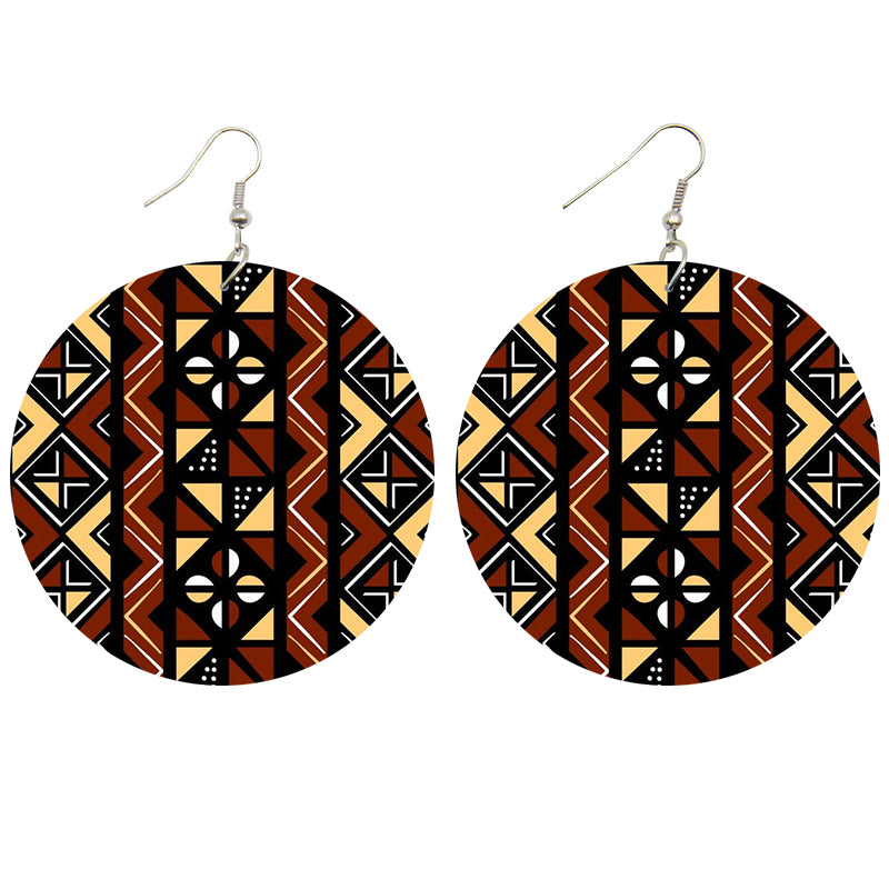 Brown beige mud cloth / bogolan | African inspired earrings