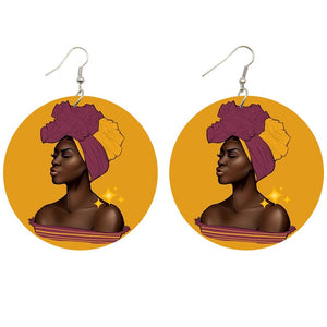 Pink headwrap woman | African inspired earrings