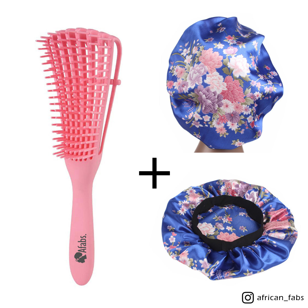Pink Detangler brush + Blue pink flowers Satin Hair Bonnet | Comb for curls | Afro hair brush