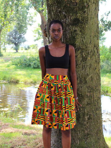 African print Kente Orange Mini Skirt