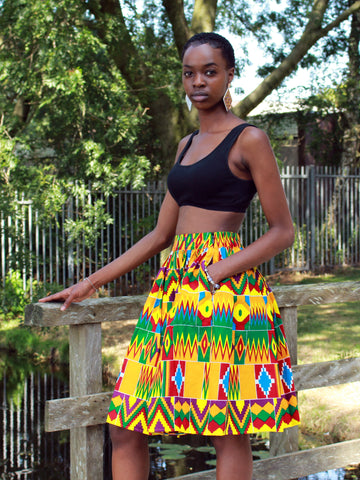 African print Kente Yellow Mini Skirt