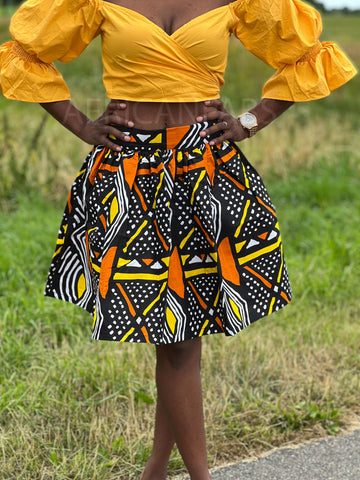 African print Red pencil Maxi Skirt with slit