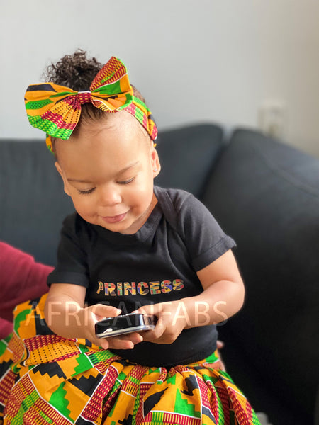 African print Kids Skirt + Headtie with Bow set in Kente print ( 1 - 10 years )