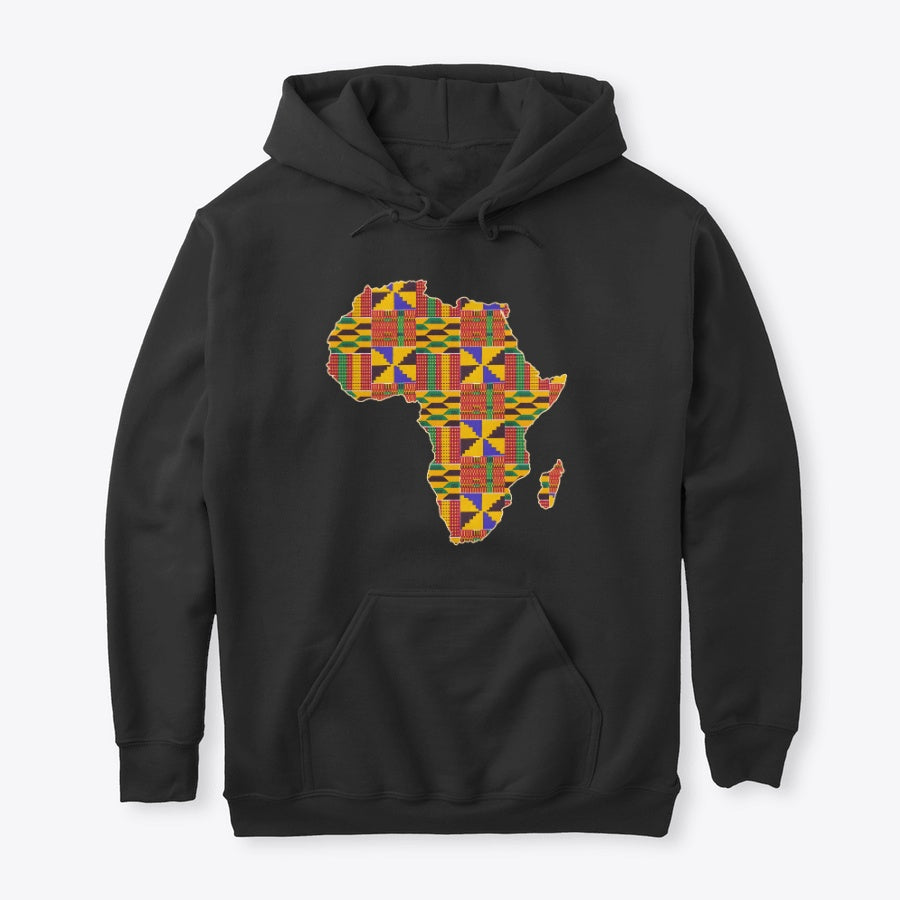 Hoodie / Sweater (Unisex) - African continent in Kente print (Black or White)