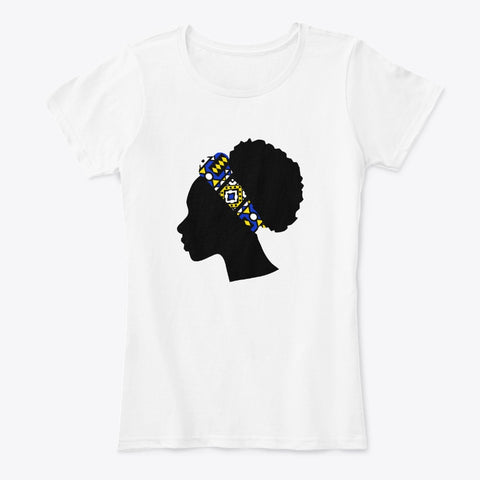 Women's T-shirt - Head with Blue Samakaka Headband (White & Blue)
