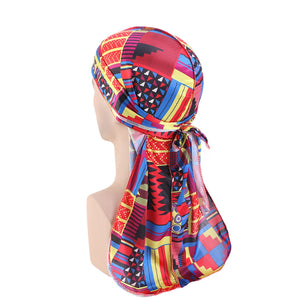 Durag / Du-rag / Do-rag / Bandana - Unisex - Kente print Red