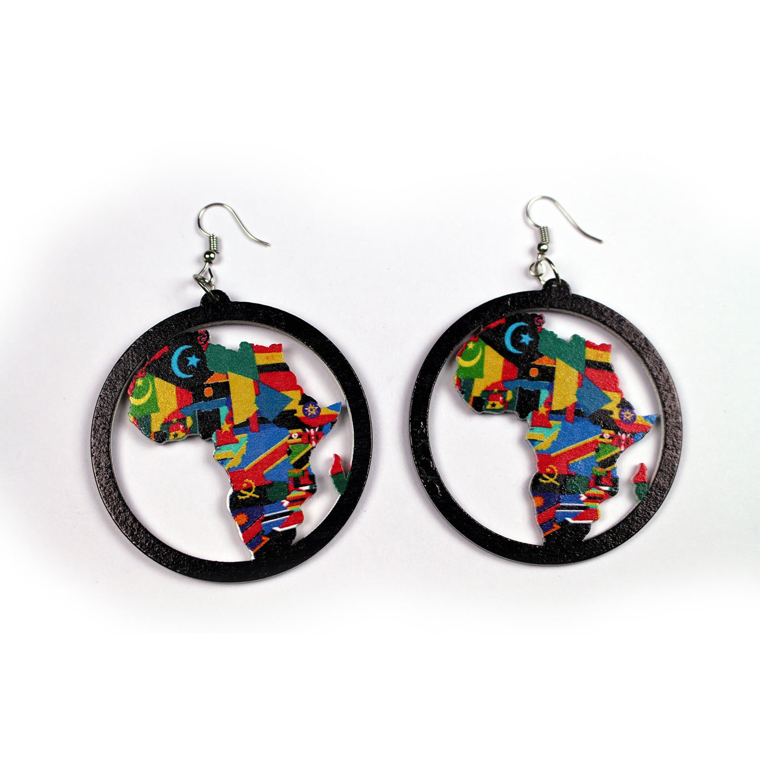 Black wooden earrings | African continent with all country flags