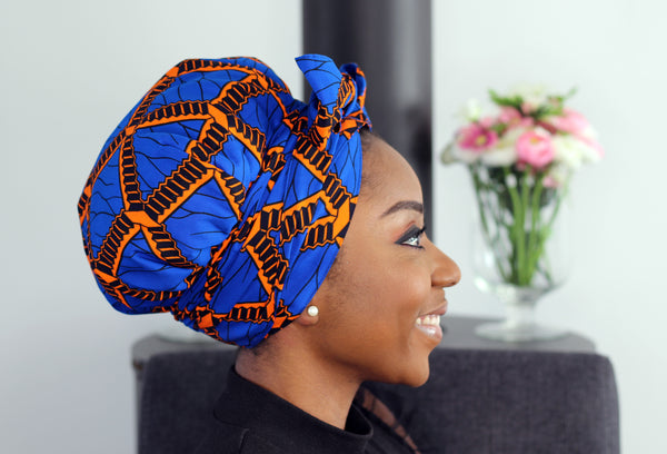 Easy headwrap - Satin lined hair bonnet - Blue Orange stairs