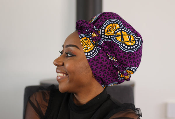 Easy headwrap - Satin lined hair bonnet - Purple Yellow shapes