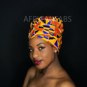 Easy headwrap - Satin lined hair bonnet - Mustard Maroon flowers