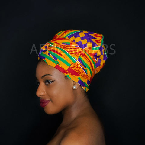 Easy headwrap - Satin lined hair bonnet - Blue Red Ancient