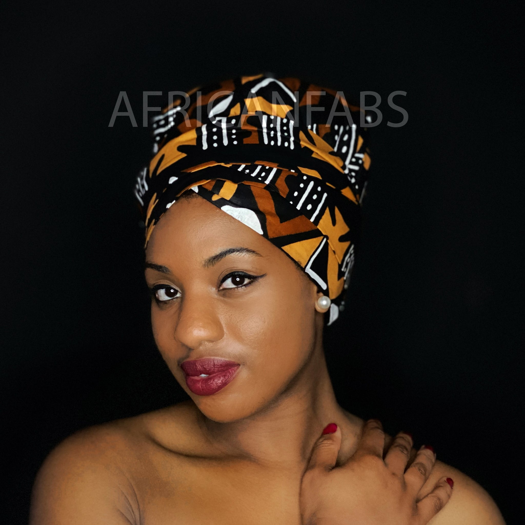 Easy headwrap - Satin lined hair bonnet - Red Yellow Swirly stripes
