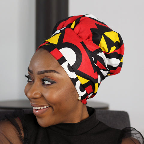 Easy headwrap - Satin lined hair bonnet - Red Yellow Samakaka