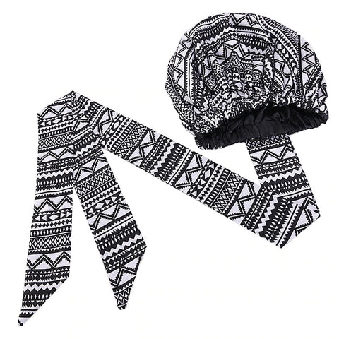 Easy headwrap - Satin lined hair bonnet - Black / White tribal