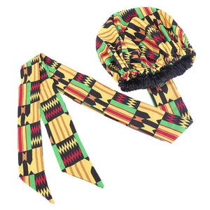 Easy headwrap - Satin lined hair bonnet - Black / Yellow Kente