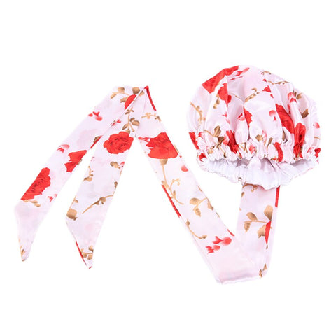 Easy headwrap - Satin lined hair bonnet - White / Red flowers