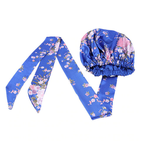 Easy headwrap - Satin lined hair bonnet - Blue / pink flowers