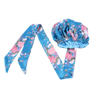 Easy headwrap - Satin lined hair bonnet - Lightblue / pink flowers