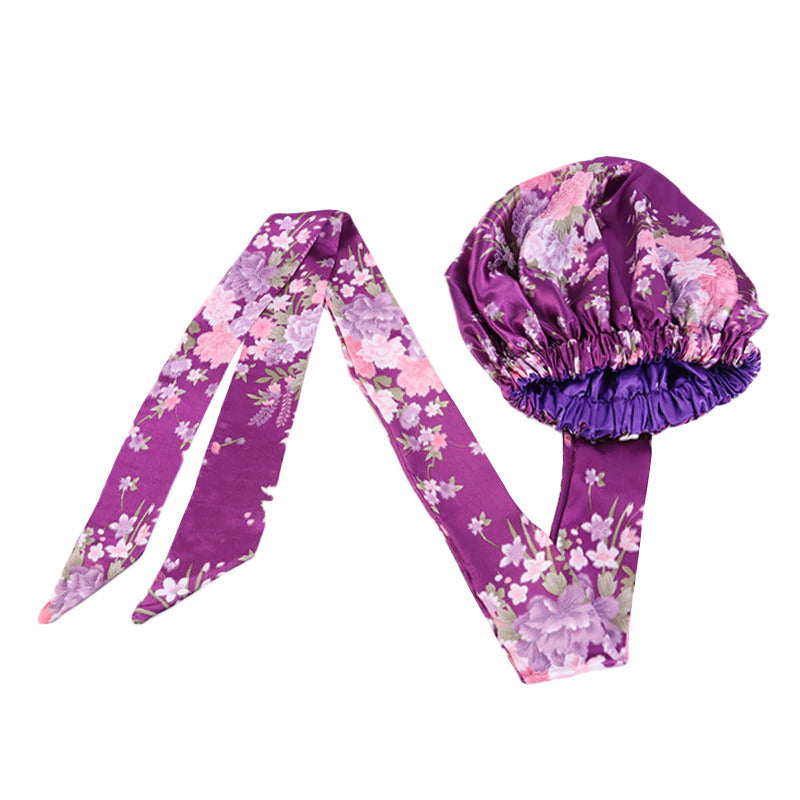 Easy headwrap - Satin lined hair bonnet - Purple / pink flowers