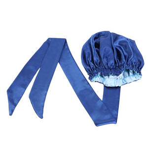 Easy headwrap - Satin lined hair bonnet - Blue