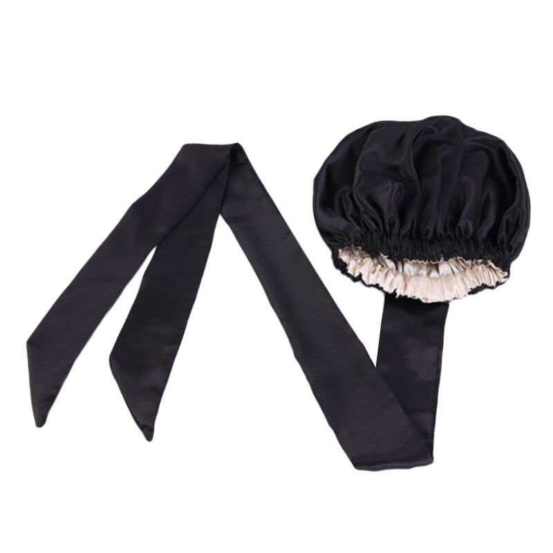 Easy headwrap - Satin lined hair bonnet - Black