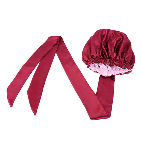 Easy headwrap - Satin lined hair bonnet - Red