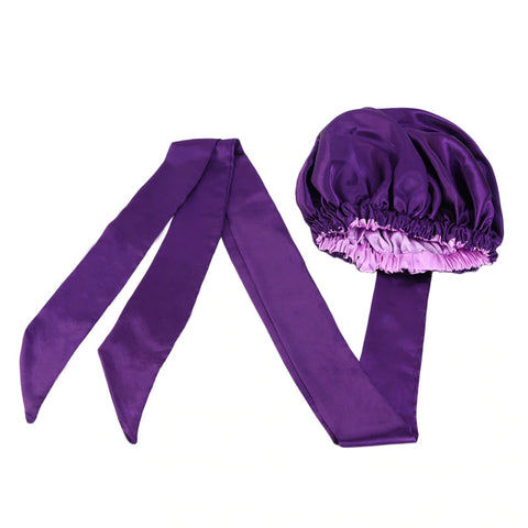 Easy headwrap - Satin lined hair bonnet - Purple