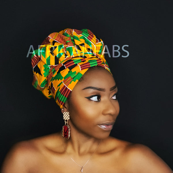 Easy headwrap - Satin lined hair bonnet - Yellow / green Kente