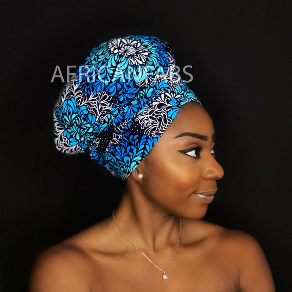 Easy headwrap - Satin lined hair bonnet - Blue / black