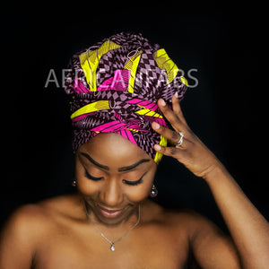 Easy headwrap - Satin lined hair bonnet - Pink / yellow