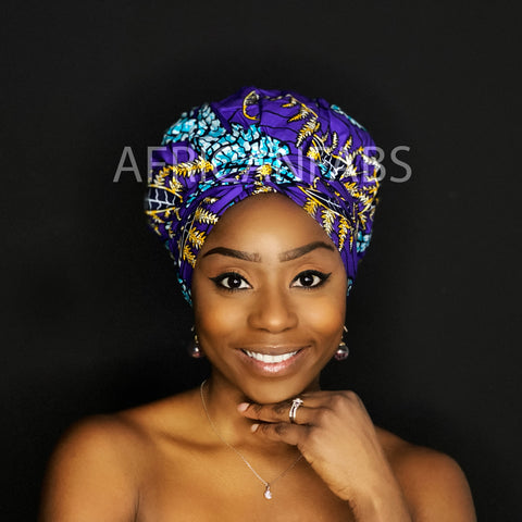 Easy headwrap - Satin lined hair bonnet - Purple / yellow / blue