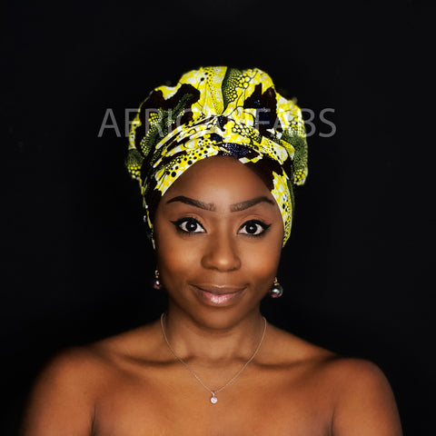 Easy headwrap - Satin lined hair bonnet - Yellow