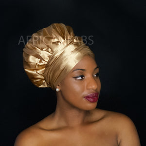 Easy headwrap - Satin lined hair bonnet - Gold