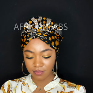 Easy headwrap - Satin lined hair bonnet - Brown Mud