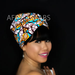 Easy headwrap - Satin lined hair bonnet - White round circle
