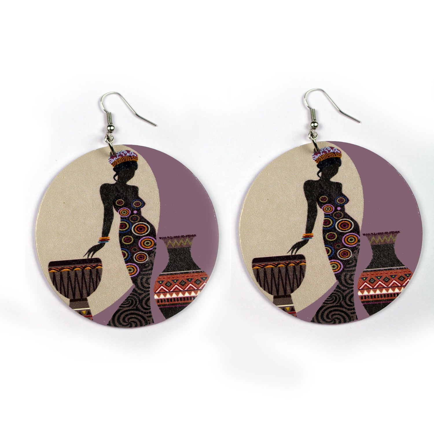 Large wooden Ethnic drop earrings | The woman and two pots