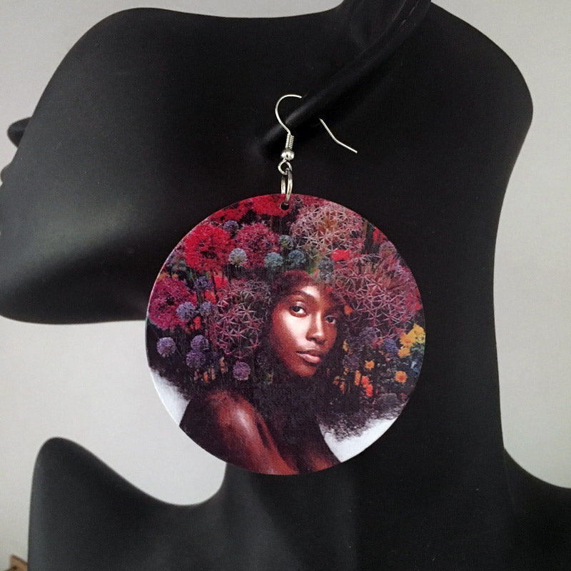 Africa inspired earrings | Afro flower girl