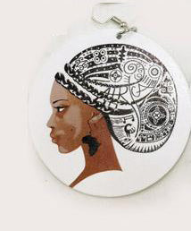 Wooden drop earrings | Lady with turban