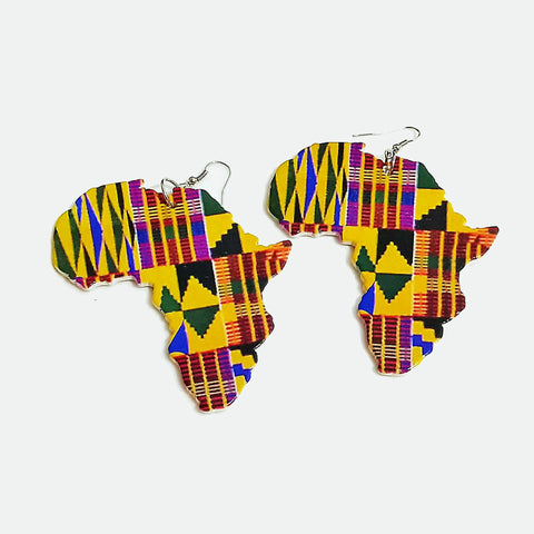 African Print Earrings | Kente print African Continent