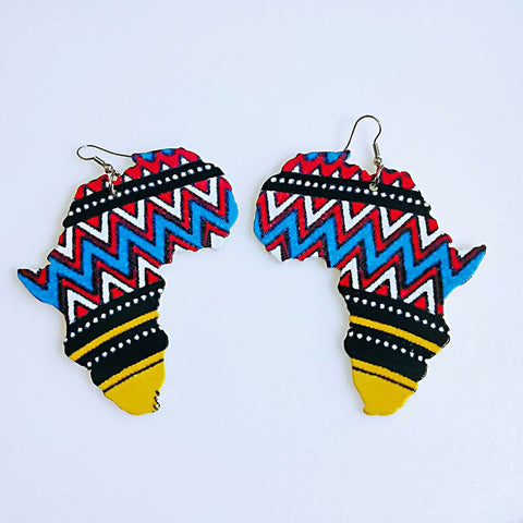 Blue African print Earrings in African Continent