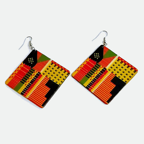Yellow Square African print Earrings