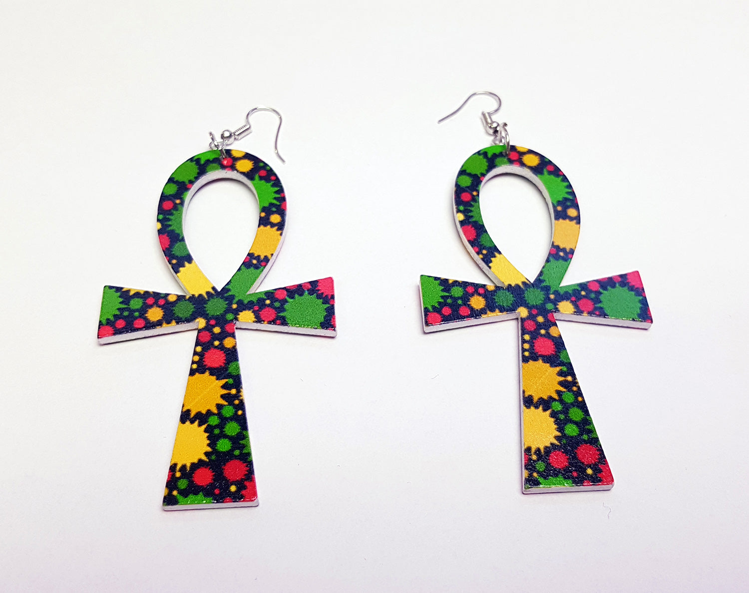 Ankh shaped wooden African Earrings with Print - Dots