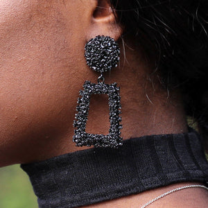 Black Large Chunky Metal Geometric Drop Earrings