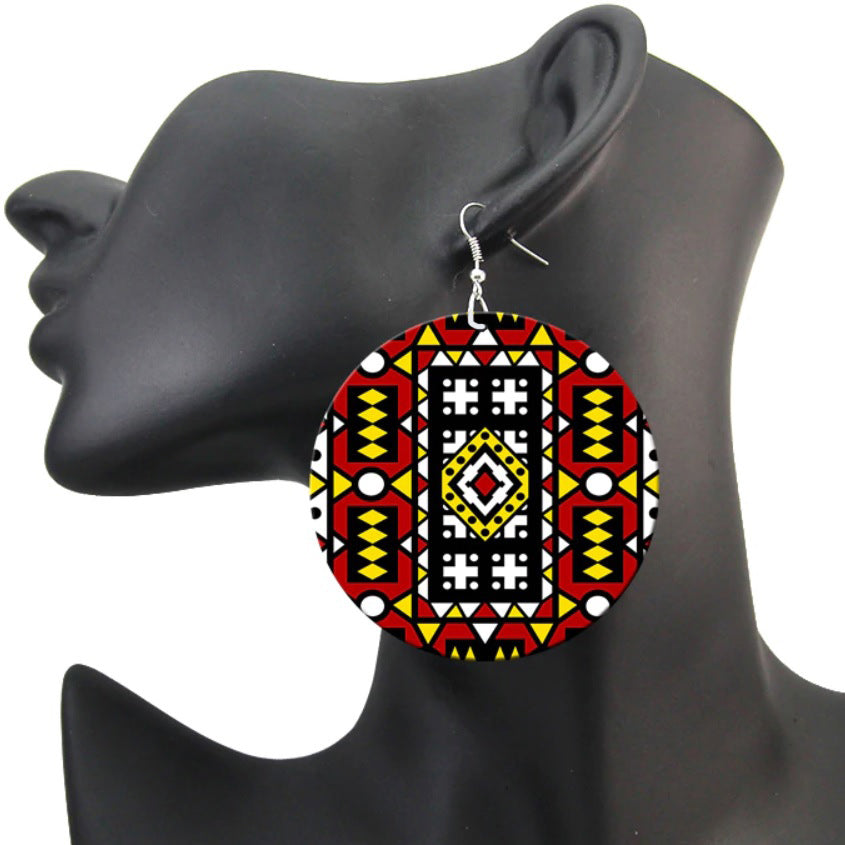 Red Samakaka print Earrings - African Samacaca drop earrings
