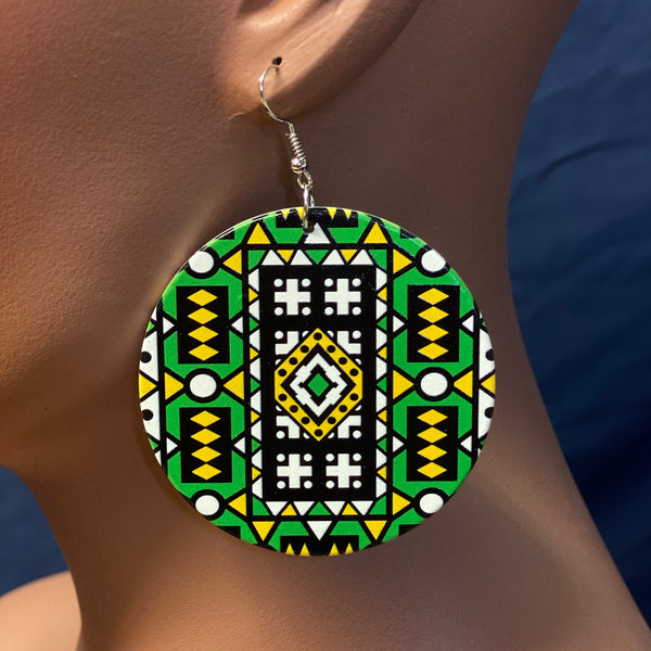 Green Samakaka print Earrings - African Samacaca drop earrings