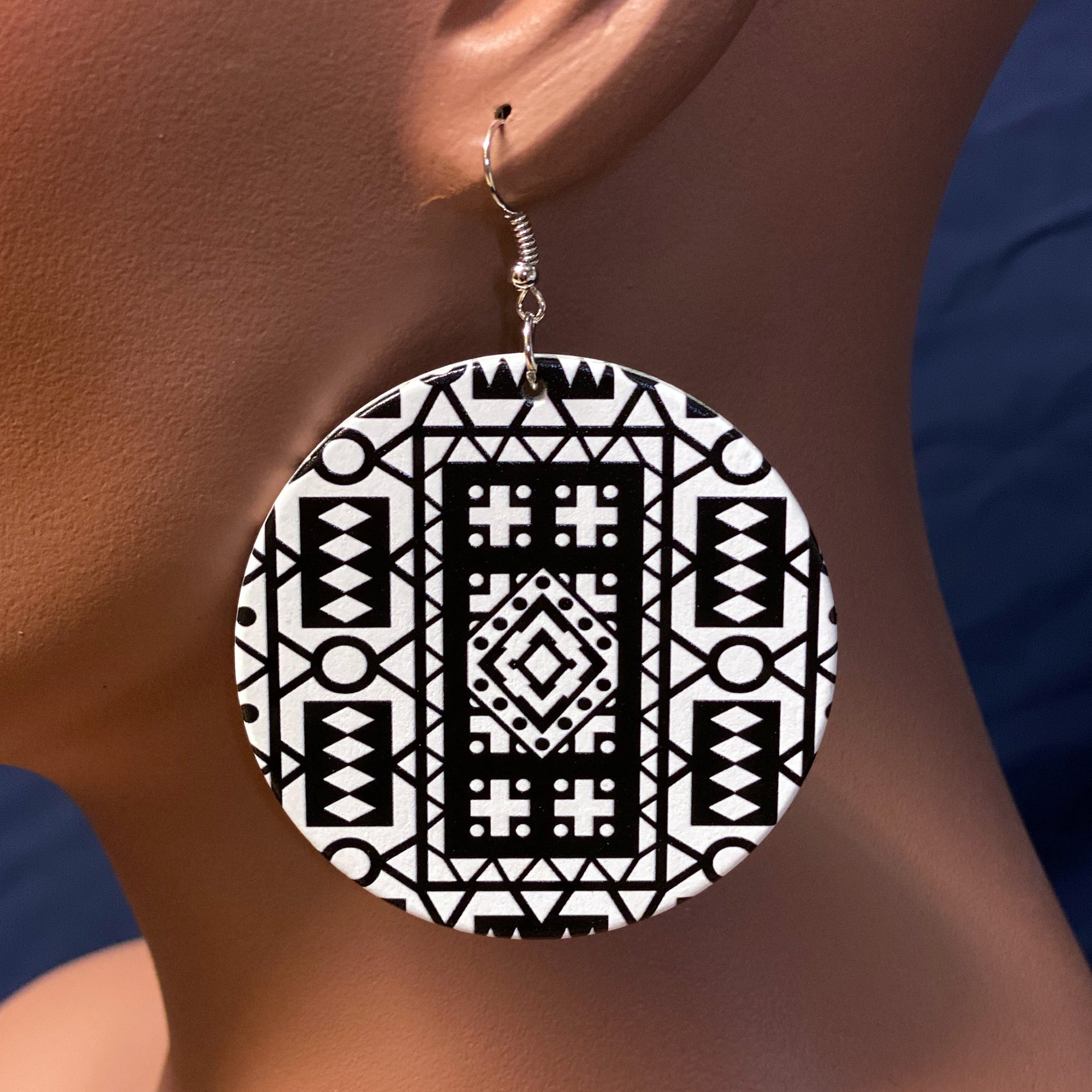 Black / White Samakaka print Earrings - African Samacaca drop earrings