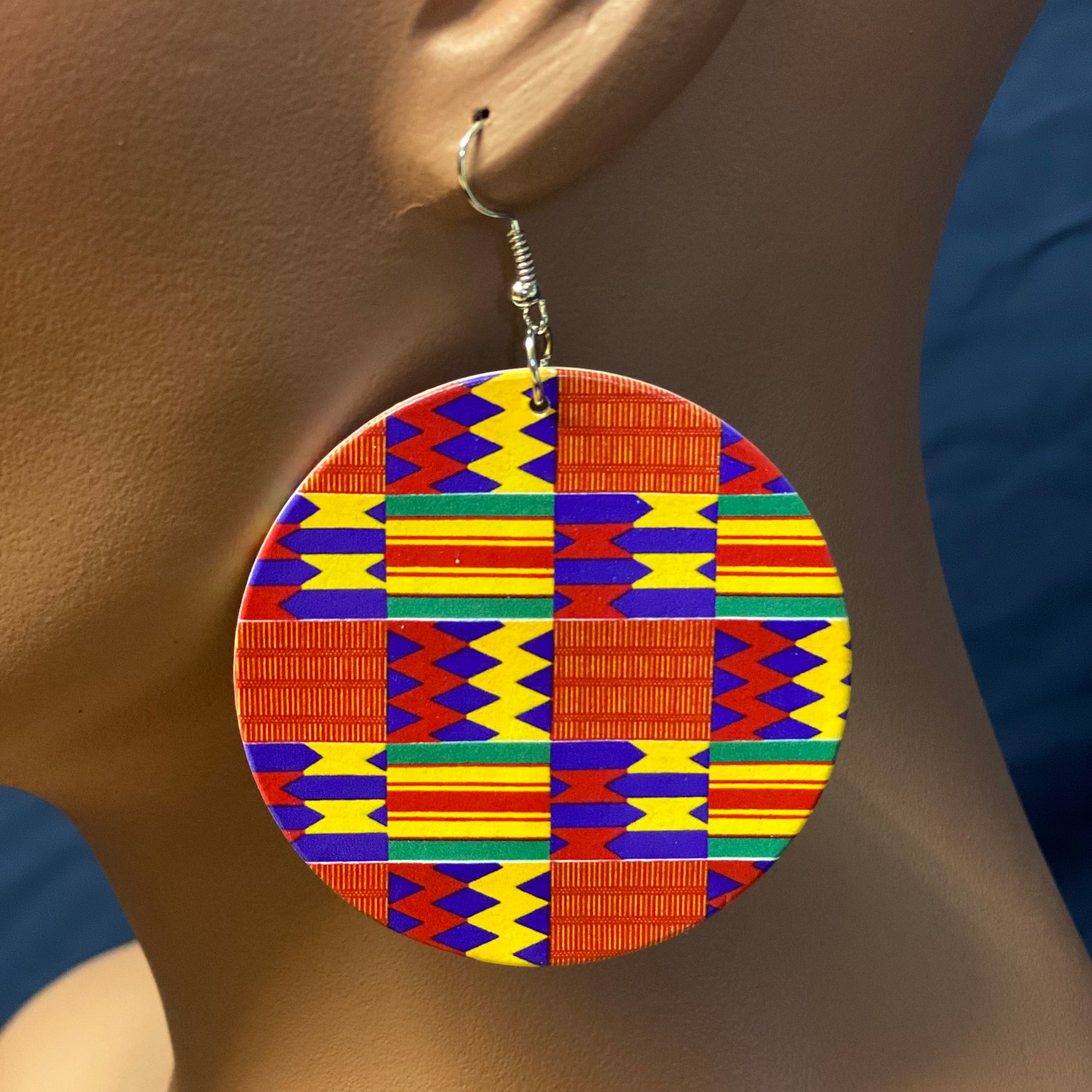 Red / Green Kente print Earrings