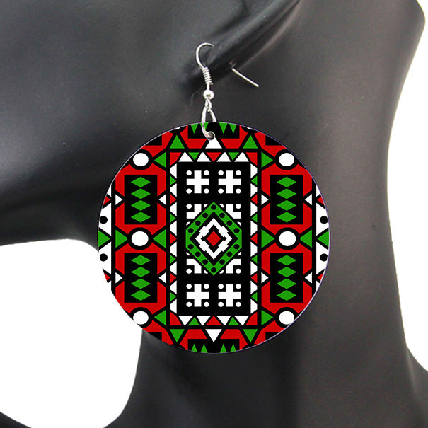 Red Green Samakaka print Earrings - African Samacaca drop earrings