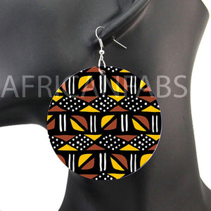 Brown / yellow mud cloth / bogolan | African inspired earrings