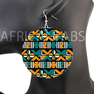 Turquoise yellow crosses mud cloth / bogolan | African inspired earrings